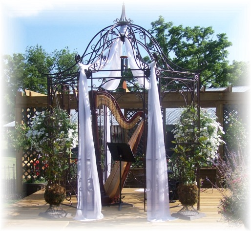 Gazebo with harpist at wedding